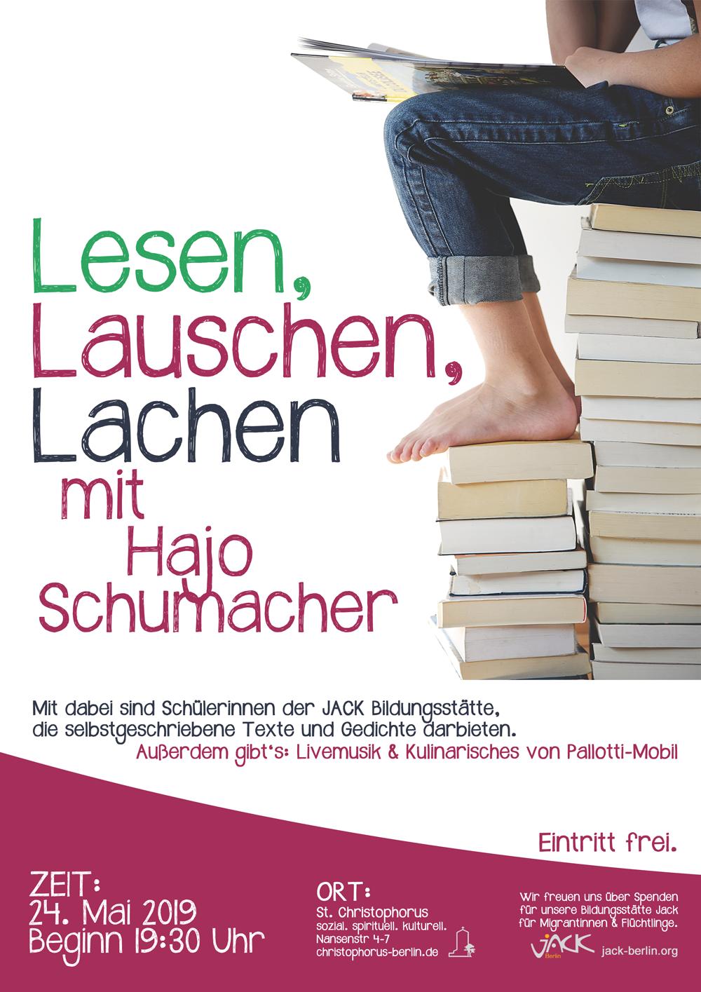 Lesen, lauschen, lachen mit Hajo Schumacher @ St. Christophorus | Berlin | Berlin | Deutschland